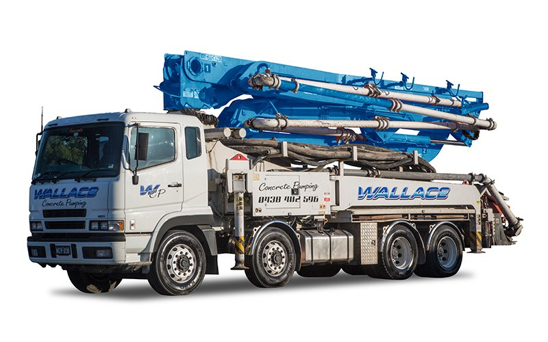 WCP038 - 38m Truck Mounted Boom Pump - Wallace Concrete Pumping Services Contractor Company - Sydney NSW