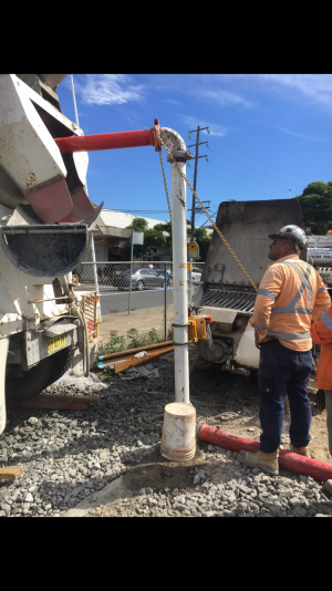 Wallace Concrete Pumping Contractor services project: Concrete Line pump blow back -